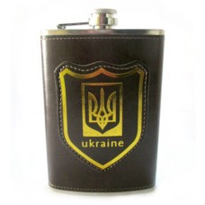 "Фляга ""Ukraine"" 255 мл / метал-шкірзам"
