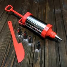 Шприц металевий A-Plus M-001 / 5 насадок / лопатка