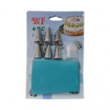 Мешок кондитерский силиконовый маленький + 6 насадок (WF)