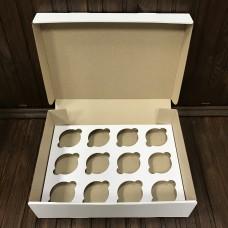 Коробка для 12 кексів / 340х250х90 / гофра / без вікна