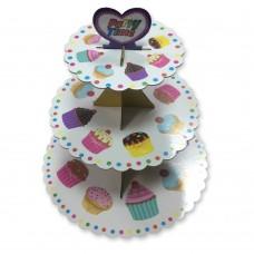 Подставка для кексов трехярусная (картонная)