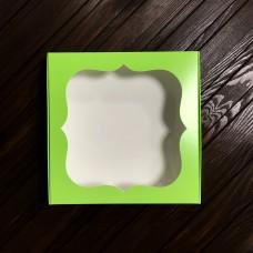 Коробка для цукерок, печива / 150х150х30 / салатова / вікно