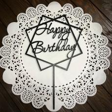 "Топпер ""Happy Birthday"" / ДВП / чорний / 13х21 см / квадрати"