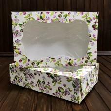 Коробка для зефіру, еклерів / 230х150х60 / із принтом / вікно