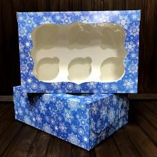 Коробка для 6 кексів / 250х170х90 / Новий Рік / синя / вікно