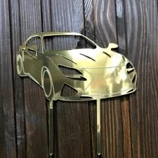 """Топпер """"Машинка"""" / акрил / золото / 13х13 см / Lexus"""