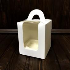 Коробка з ручкою для 1 кекса / 82х82х100 / біла / 3D вікно