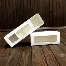 Коробка для 5 макаронс / 140х55х45 / біла / вікно