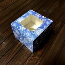 Коробка для 1 кекса / 100х100х90 / Новий Рік / синя / вікно