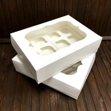 Коробка для 12 кексів / 340х250х90 / біла / вікно