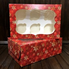 Коробка для 6 кексів / 250х170х90 / Новий Рік / червона / вікно