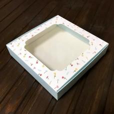 Коробка для цукерок, печива / 150х150х30 / бл.квіти / вікно