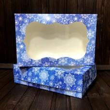 Коробка для зефіру, еклерів / 230х150х60 / Новий Рік / синя / вікно