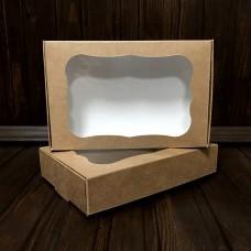Коробка для цукерок, печива / 100х150х30 / крафт / вікно
