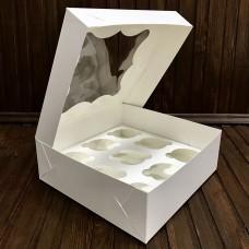 Коробка для 9 кексів / 250х250х90 / біла / вікно