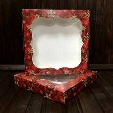 Коробка для цукерок, печива / 200х200х30 / Новий Рік / червона / вікно