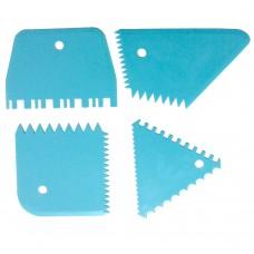 Набір шкребків пластикових BB1004 / зубчасті / 4 шт.