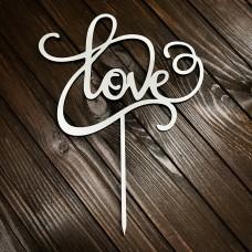 "Топпер ""Love"" / ДВП / білий / 15х20 см"