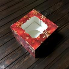 Коробка для 1 кекса / 100х100х90 / Новий Рік / червона / вікно