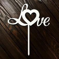 """Топпер """"Love - Серце"""" / ДВП / білий / 15х18 см"""
