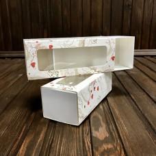 Коробка для 5 макаронс / 140х55х45 / із принтом / вікно