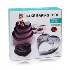 """Набір форм металевих для випікання торта """"Серця"""" / 3 шт."""
