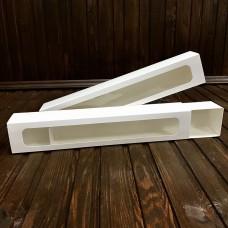 Коробка для 10 макаронс / 290х50х45 / біла / вікно
