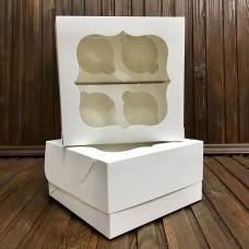 Коробка для 4 кексів / 170х170х90 / біла / вікно