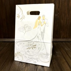 Пакет весільний / Срібло-Золото / 19х23х12 см