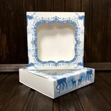 Коробка для цукерок, печива / 120х120х30 / Новий Рік / олені / вікно