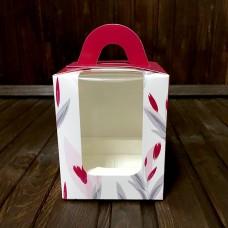 Коробка з ручкою для 1 кекса / 82х82х100 / квіти / 3D вікно