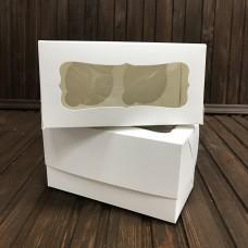 Коробка для 2 кексів / 170х85х90 / біла / вікно