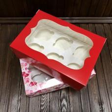 Коробка для 6 кексів / 250х170х90 / із принтом / вікно