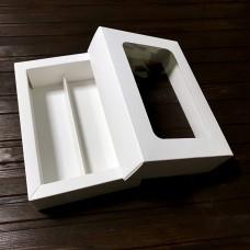 """Коробка для 10 макаронс """"Дабл"""" / 170х105х50 / біла / вікно"""