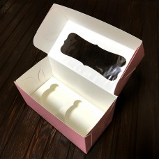 Коробка для 2 кексів / 170х85х90 / пудра / вікно