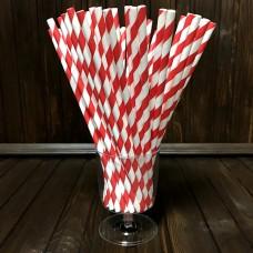 Соломинка паперова / червоно-біла / 20 см / d-6 мм / 50 шт.