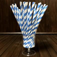 Соломинка паперова / блакитно-біла / 20 см / d-6 мм / 50 шт.
