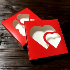 Коробка для цукерок, печива / 200х200х30 / червона / 2 серця / вікно