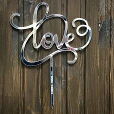 """Топпер """"Love"""" / акрил / срібло / 15х20 см"""
