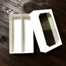 """Коробка для 10 макаронс """"Дабл"""" / 200х120х60 / біла / вікно"""